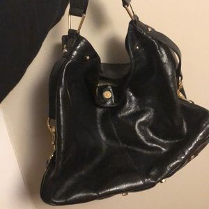 Rebecca Minkoff Ostrich Leather black hobo bag